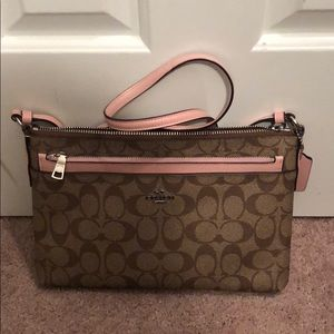 Tan and pink coach cross body